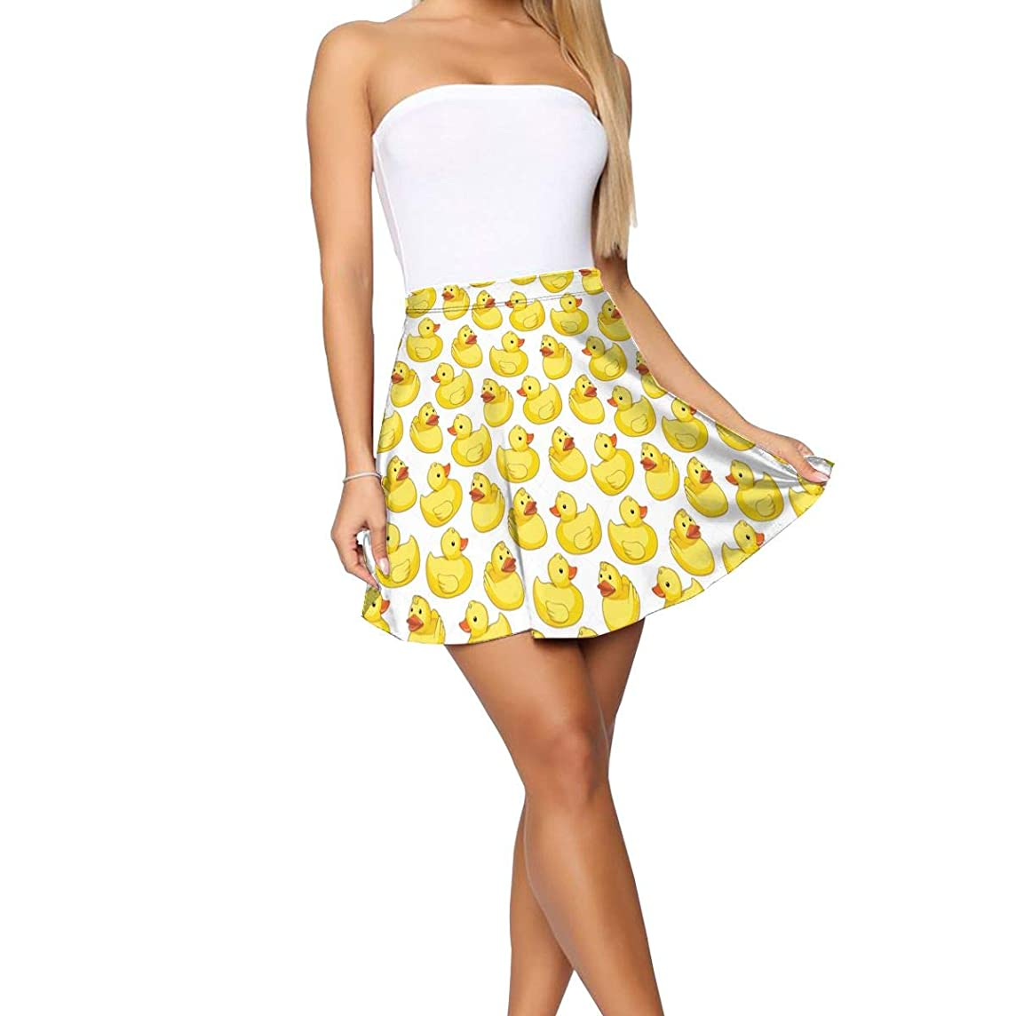 Nkjsiss White Geese Yellow Short Skirt Women's Basic Cute Casual Pleated Skirts S-XL