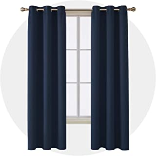 Deconovo Room Darkening Thermal Insulated Blackout Grommet Window Curtain for Bedroom, Navy Blue, 42x84 Inch Set of 4
