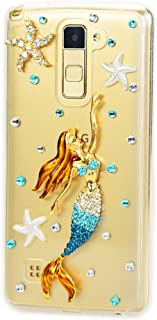 STENES Alcatel One Touch Fierce XL Case - STYLISH - 100+ Bling Crystal - 3D Handmade Starfish Mermaid Design Protective Case For Alcatel One Touch Fierce XL - Blue