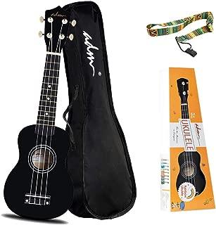 ADM Beginner Ukulele 21 Inch Soprano Kids Starter Pack Bundle with Gig Bag, Strings, Tuner, Fingerboard Sticker, Chord Card, Black