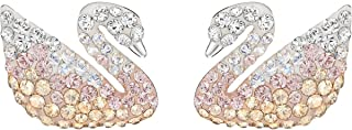 ICONIC SWAN color design pierced earrings, white gold plated with Swarovski diamonds