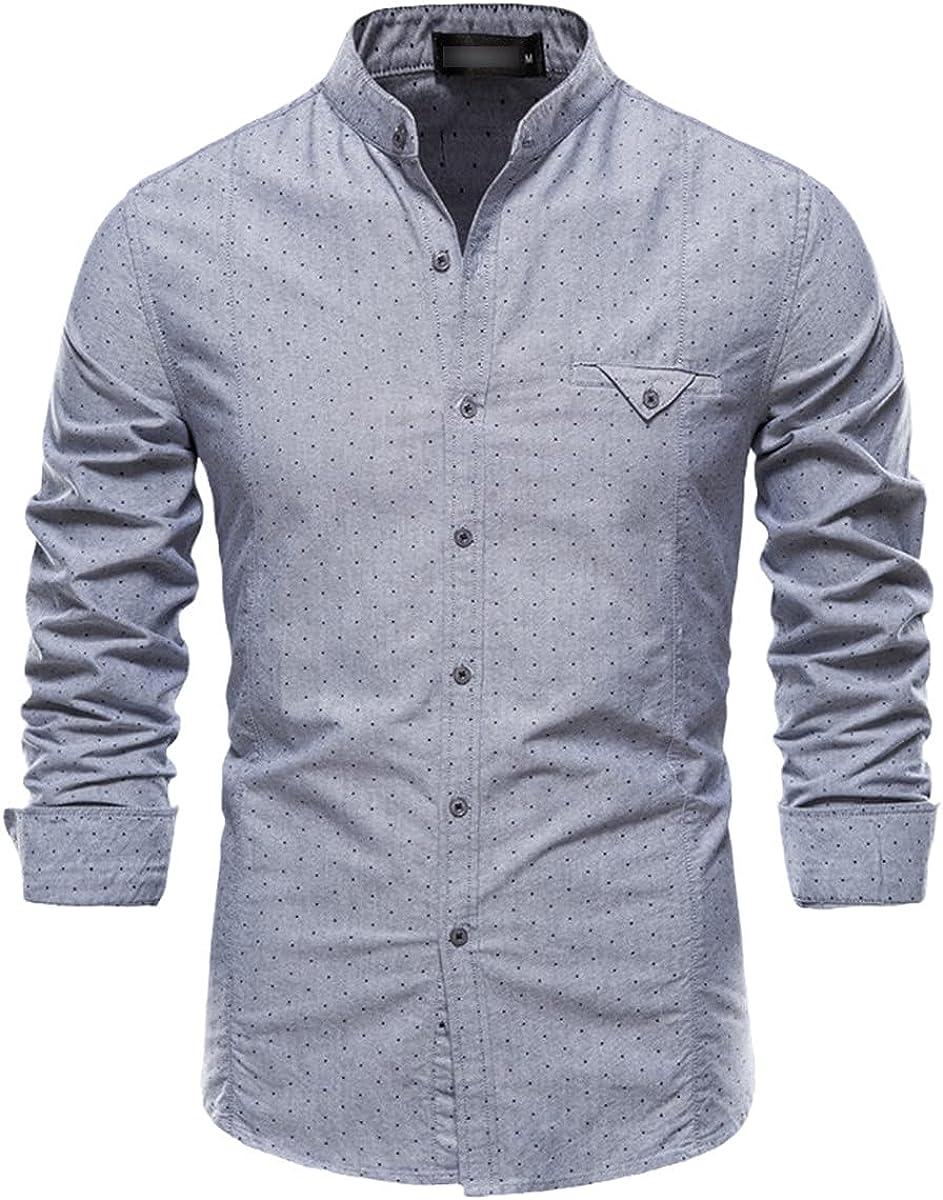 Long-Sleeved Polka-Dot Shirt Men's Spring Stand-Up Collar Cotton Shirt Casual Social Business Formal Shirt