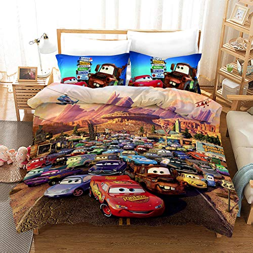 BEDSERG Duvet Cover Set 3D Printed Color city racing Double 78.74 x 78.74 inch Bedding Duvet Cover Set with Zipper Closure for Kids Boys Teen Soft Microfiber