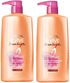 L'Oreal Paris Dream Lengths Shampoo and Conditioner Kit, With Fine Castor Oil & Vitamins B3 & B5 for Long, Damaged Hair, Visibly Repairs Damage Without Weighdown, Paraben-free, Dream Lengths