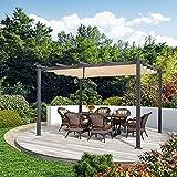PURPLE LEAF 10' X 13' Outdoor Retractable Pergola with Sun Shade Canopy Patio Metal Shelter for Garden Porch Beach Pavilion Grill Gazebo Modern Yard Grape Trellis Pergola, Beige