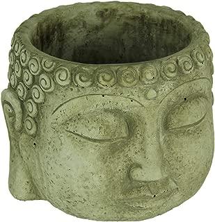 Light Gray Buddha Head Concrete Planter Pot