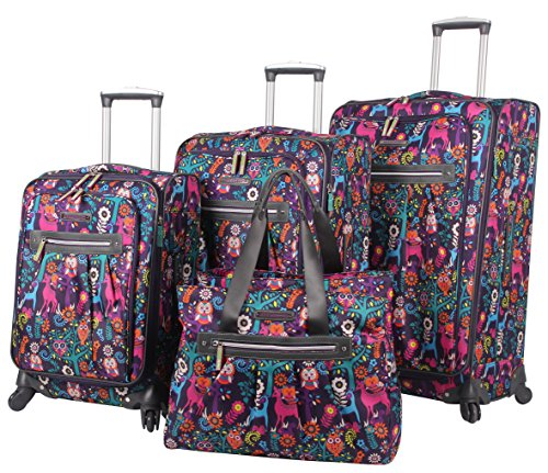 Lily Bloom Luggage Set 4 Piece Suitcase Collection with Spinner Wheels for Woman (Wildwoods)