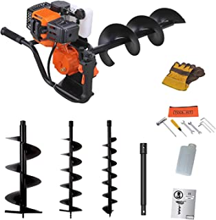 Sotech Auger Ground Drill 52 cc Post Hole Digger Earth Borer, 2-Stroke with 100/150/200mm Earth Augers, 60cm Extension, Ea...