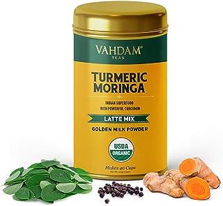 VAHDAM, Cúrcuma + Moringa Latte, 40 Tazas (100g) | Dorada Leche Polvo Con Potente Curcumina | Polvo De Cúrcuma + Moringa | Latte De Cúrcuma | Té De Cúrcuma | Preparar Caliente O Helado