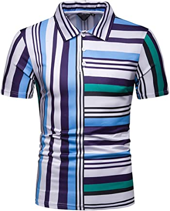 61993ad59b4741 OOEOO Polo Shirts for Men Short Sleeve Classic Stripe Casual Fit Golf T- Shirts (