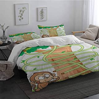 Light-Weight Microfiber Duvet Cover Set Kids Activity Curious Monkey Trying to Reach The Banana Maze Design Pathway Funky Forest 1 Duvet Cover 2 Pillowcases Multicolor King