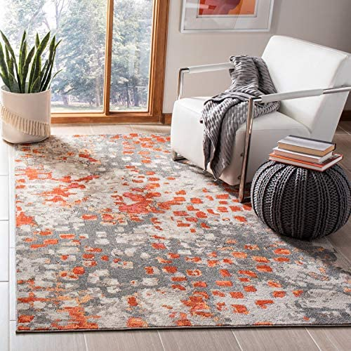 Safavieh Madison Collection MAD425H Boho Abstract Distressed Area Rug 5 3 x 7 6 Grey Orange product image