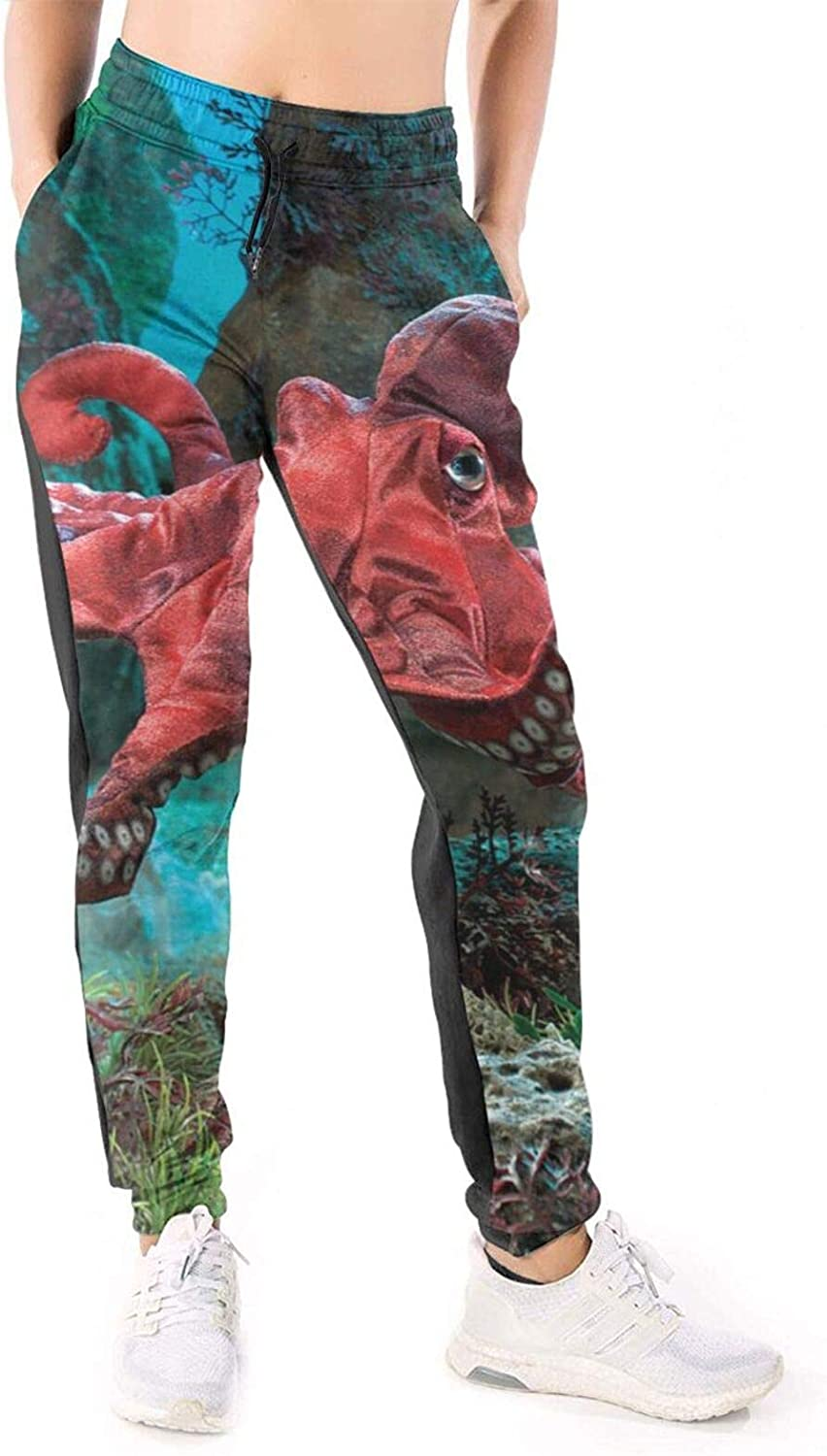 Women Joggers Pants Red Sea Monster Octopus Athletic Sweatpants with Pockets Casual Trousers Baggy