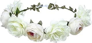 June Bloomy Women Rose Floral Crown Hair Wreath Leave Flower Headband with Adjustable Ribbon