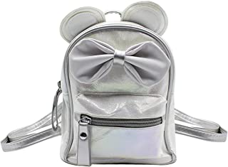 mosstyus Cute Travel Backpack Holographic Cartoon Ears Mouse Bow Bag School Mini Daypack for Boys Girls Women
