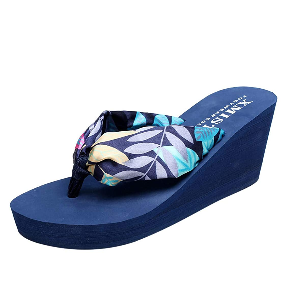 ラップトップ実り多いの配列[Rencaifeinimo] ファッション女性のフリップフロップスリッパウェッジビーチ滑り止めボスミア靴ポストスリッパ