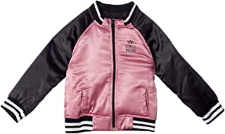 Giggles Striped Trims Two-Tone Zip-up Satin Baseball Jacket for Girls