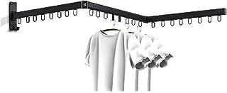 Tauzveok Support Mural Pliant Séchage Rétractable,Cintre Linge Crochets, Capacité Charge 100 KG pour Lintérieur Lexterieur...