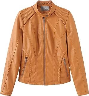NXH® Women's PU Jacket Vogue Soft Leather Classic Collar Casual Blazer Black S