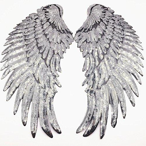 1 par de alas de ángel con lentejuelas doradas y plateadas, para decorar prendas de ropa. plata