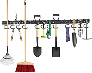 VARCOSTY 64 Inch Garage Organizer Tool All Metal Wall Mount Hooks Adjustable Storage Holders Garden , 16 Hooks, Max Load to 15lbs Each Hook, Easy to Install and Use