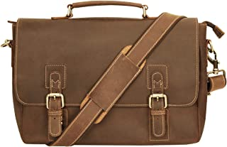 Platero Genuine Leather Satchel Briefcase Messenger Bag for Men, 13.3'' Classical Laptop Bag for Business, Office & School, Brown
