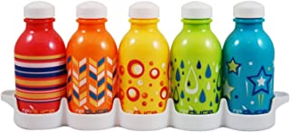 reduce WaterWeek Kids Reusable Water Bottle Set with Fridge Tray Organizer – 5 Pack, 10oz - BPA-free, Leak Proof Twist Off...