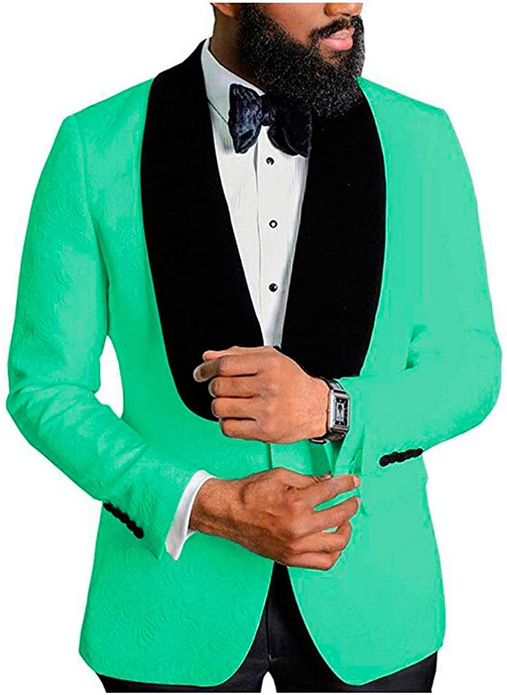Men's Shawl Outlet ☆ Free Shipping Lapel Green Floral Blazer Pro Button One Regular Fit San Francisco Mall