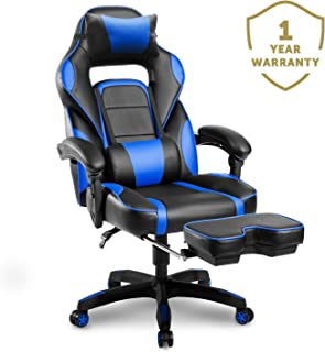 Merax Racing Gaming Chair with Footrest   Ergonomic Office Reclining Chair Computer Gamers PC Racer, High Back Large Home Desk Chairs Executive Adjustable Armrests and Comfortable Seat (Blue)