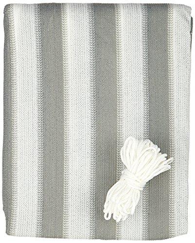 greemotion 124970 Balkonschutz aus hochwertigem Polyethylen, Sichtschutz mit den Maßen 600 x 90 x 1 cm, wetterbeständige Schutzplane zur Anbringung an Zäunen, Balkonen und Terrassen, luftdurchlässige Balkonumspannung, Markise in der Farbe grau/weiß gestreift