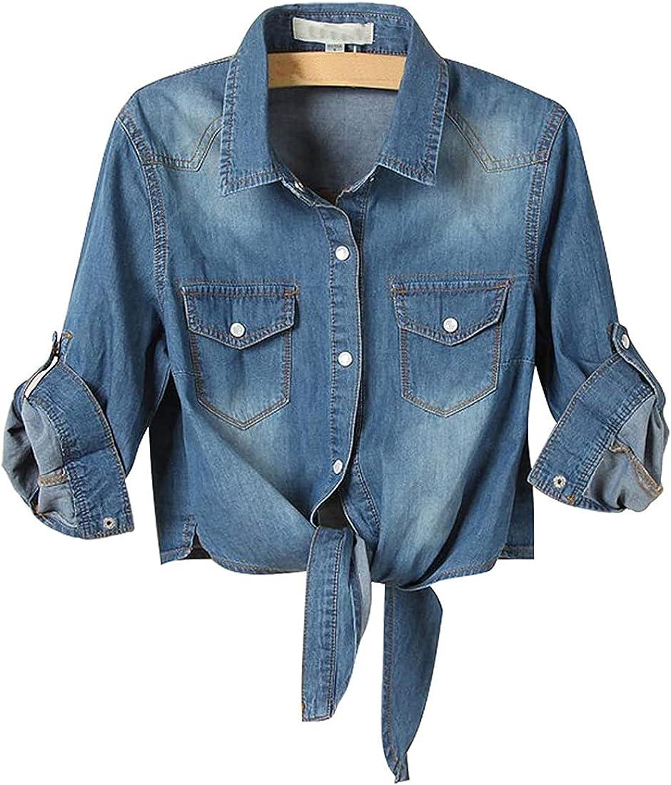 SeekMe Women's Casual 3/4 Sleeve Button Down Crop Jean Top Knot Tie Denim Shirt Jacket