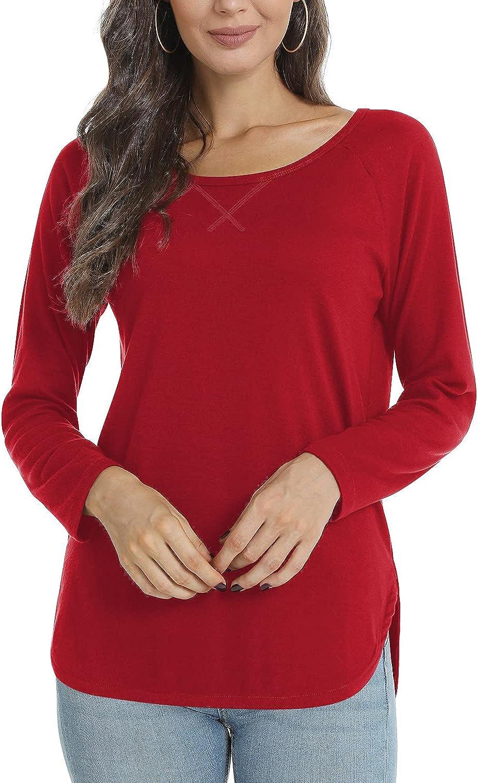 Ranking TOP10 POPYOUNG Women's Fall Casual T-Shirt Long Side Washington Mall Sleeve Split Tuni