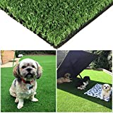 Green Pasture Artificial Grass Turf w/Drainage Holes & Rubber Backing, Indoor/Outdoor Realistic Synthetic Fake Lawn Rug Mat for Backyard, Balcony, Landscape and Pets - 0.4' Pile Height (9, 2)