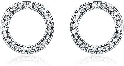 WOSTU 925 Sterling Silver Flower Stud Earrings Silver Cubic Zirconia Sunflower Daisy Flower Earrings for Girls