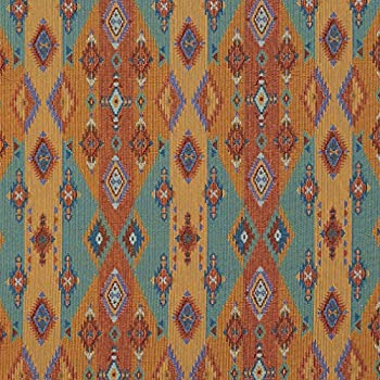 J9600G Bright Southwestern Stripes and Diamonds Woven Decorative Novelty Upholstery Fabric by The Yard