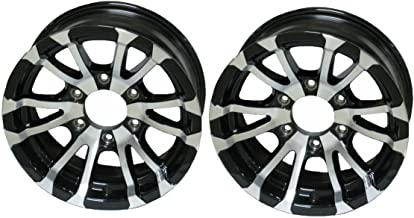 2-Pack Aluminum Trailer Rims Wheels 6 Lug 15 in. Avalanche V-Spoke/Black