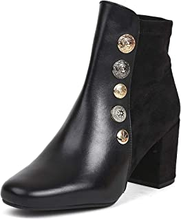 Saint G Womens Black Leather Multi Buttons Heeled Ankle Boots Boots