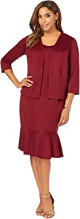 Jessica London Women's Plus Size Ponte Jacket Dress Flounce Hem Suit