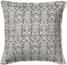 Ikea Akerkulla 26 x 26 White & Gray Floral Cushion Cover - 75% Cotton. 25% Polyester