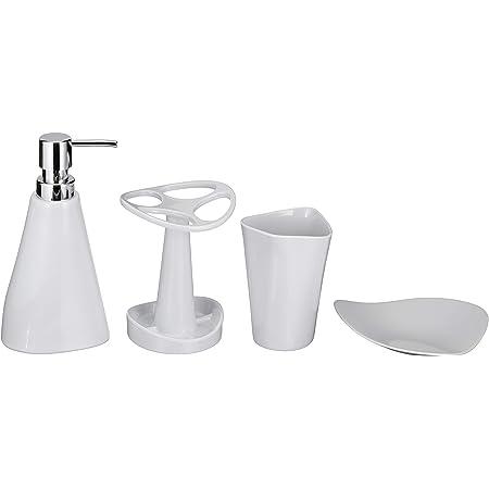 Amazon Com Amazon Basics 4 Piece Bathroom Accessories Set Smooth White Home Kitchen