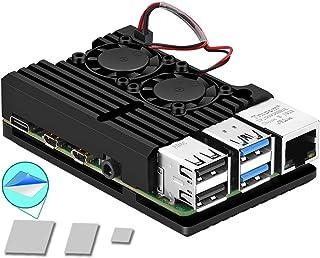 جراب Pi 4، جراب واقٍ من Raspberry Pi 4 مزود بمروحة مزدوجة، مروحة من الألومنيوم، مروحة توت العليق بي 4، مغسلة حراري Pi 4 لـ...