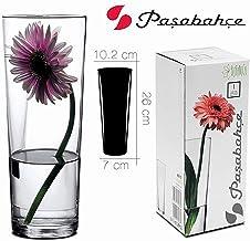 Hogar y Mas Jarrón Cristal Transparente Alto 26 cm. Floreros Decorativos Moderno y Elegante, Flores Decoración 26x7 cm
