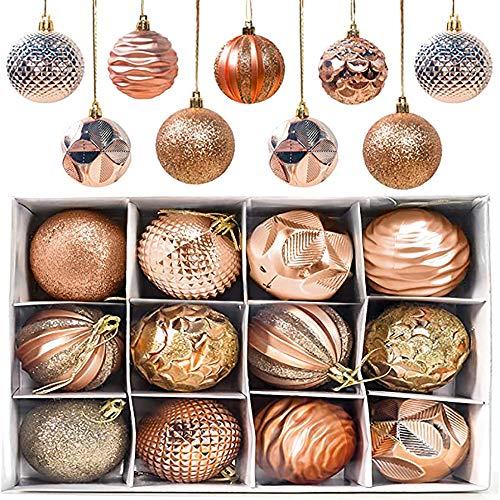 Weihnachtskugeln Weihnachtsdeko Set, 12 Stück Gemalt Weihnachtsbaum Kugeln, Kunststoff Weihnachtsbaumkugeln, Christbaumkugeln Plastik Bruchsicher, Weihnachtsbaumschmuck Mit 12 Anhänger