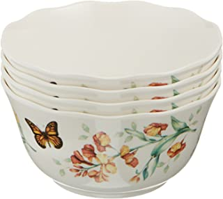 Lenox 856406 Butterfly Meadow Melamine All Purpose Bowls, 16 Ounces, White