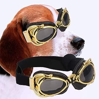 ペットサングラス、折りたたみサングラスの目の紫外線保護ゴーグルメガネ装飾用大型犬猫(Gold)