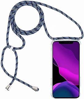 2ndSpring Funda con Cuerda Compatible con Xiaomi Mi 8 Lite,Colgante Collar Correa de Cuello Cadena Cordón,Azul Claro