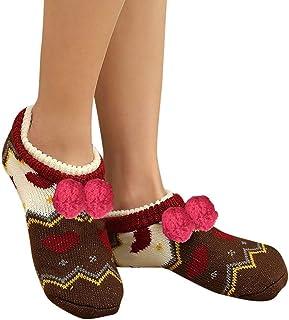 Moda casual para mujer Suave botines del piso Calcetines Calcetines de piso para dormir Engrosamiento antideslizante más terciopelo Mantener cálidos calcetines