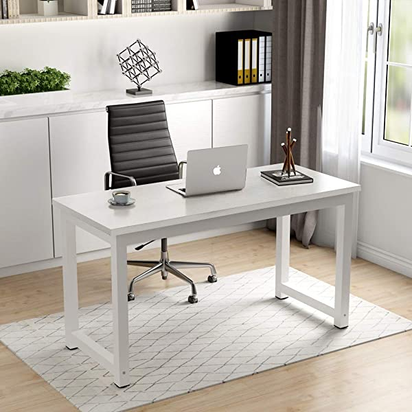 Homesailing Modern I Shape Office Computer PC Desk Table White Writing Study Desk Workstation Wood For Home Furniture Large 47