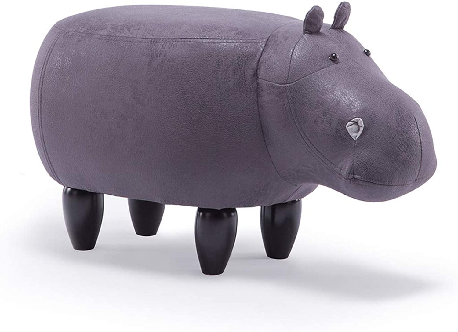 GAIXIA-Sofa stool Creative Cartoon Animal Stool Solid Wood Hippo Footstool Home Sofa Bench Change shoes Bench 37x65cm (color   E, Size   L)