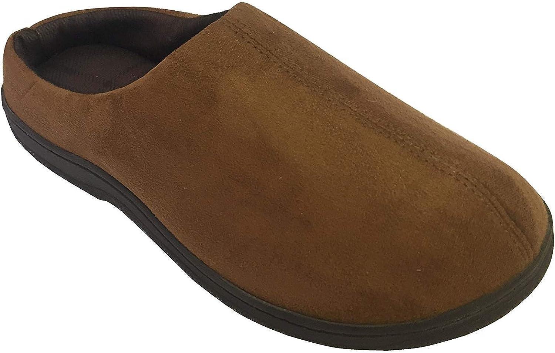 Dearfoams Men's Microfiber Suede Clog Slippers